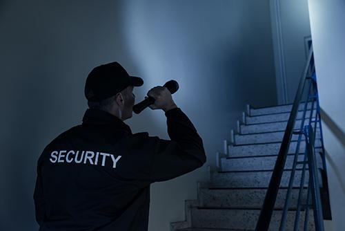 Streifendienst durch die Sicherheitsfirma